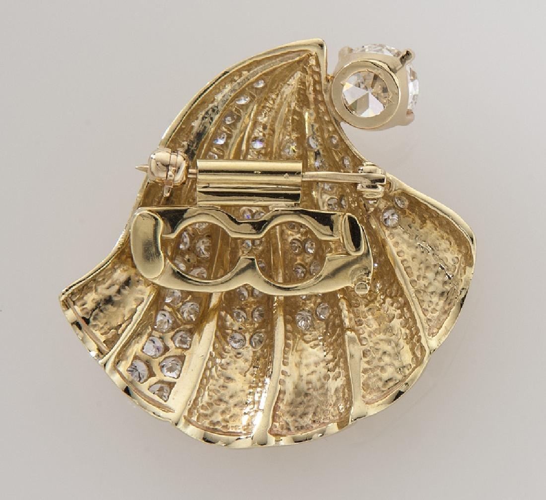 Retro 14K gold and diamond shell brooch/pendant - 2