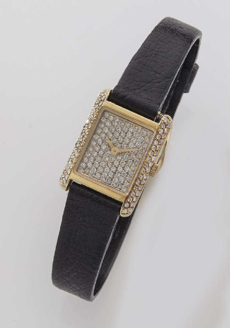 18K gold and diamond tank wristwatch