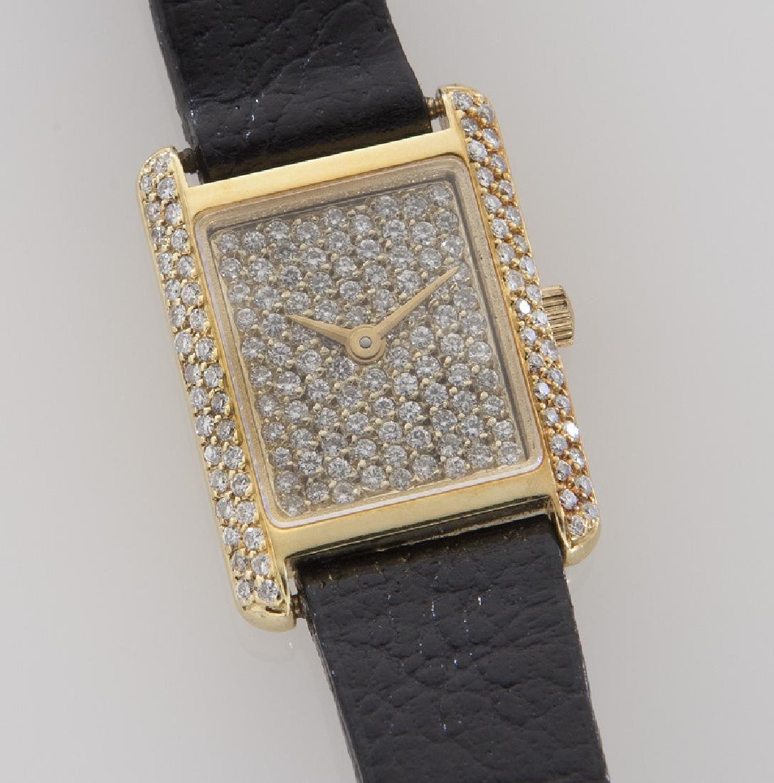 18K gold and diamond tank wristwatch - 2