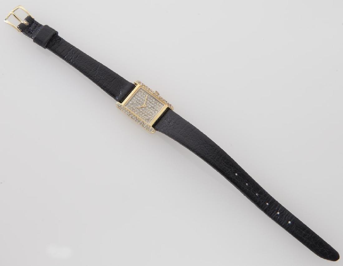 18K gold and diamond tank wristwatch - 3