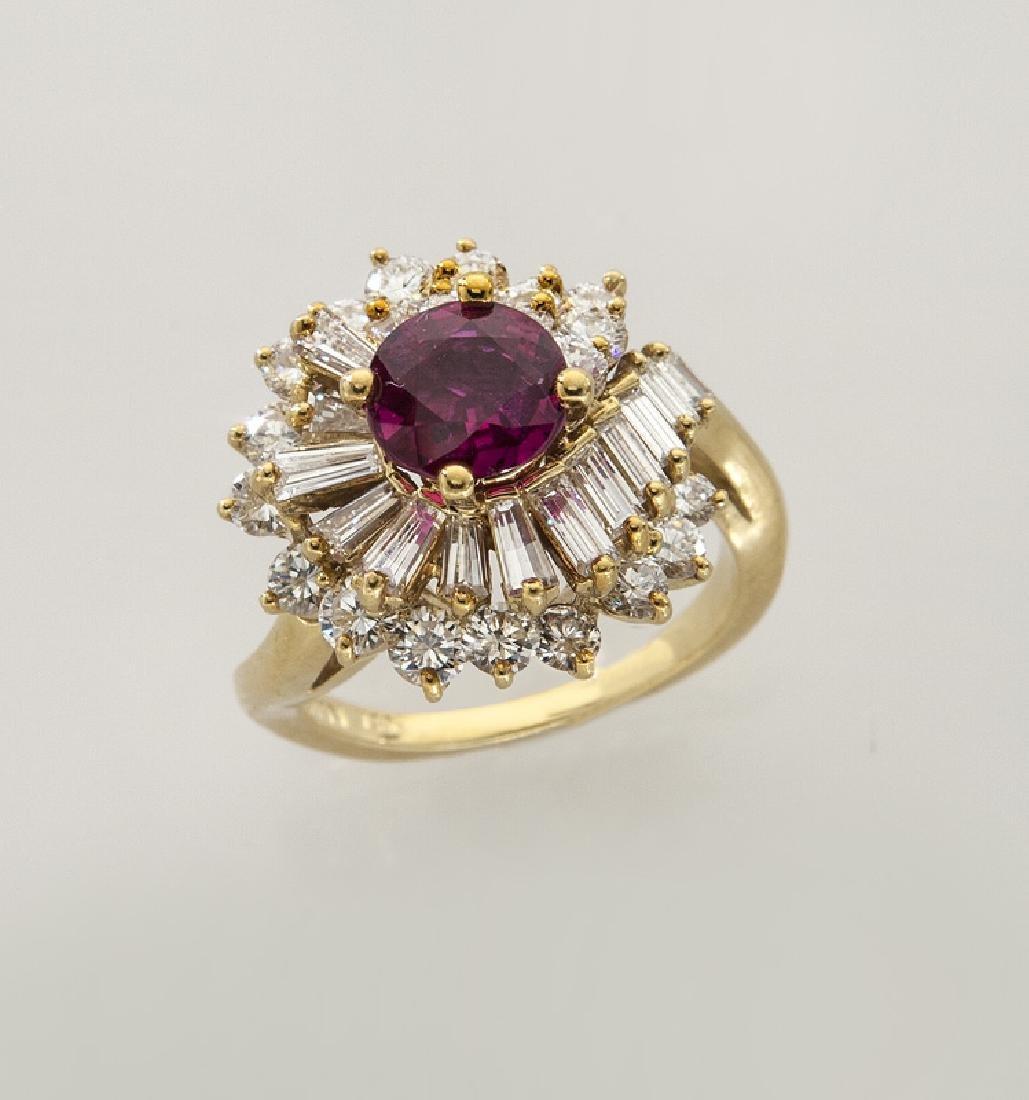 Kurt Wayne 18K gold, diamond and ruby ring
