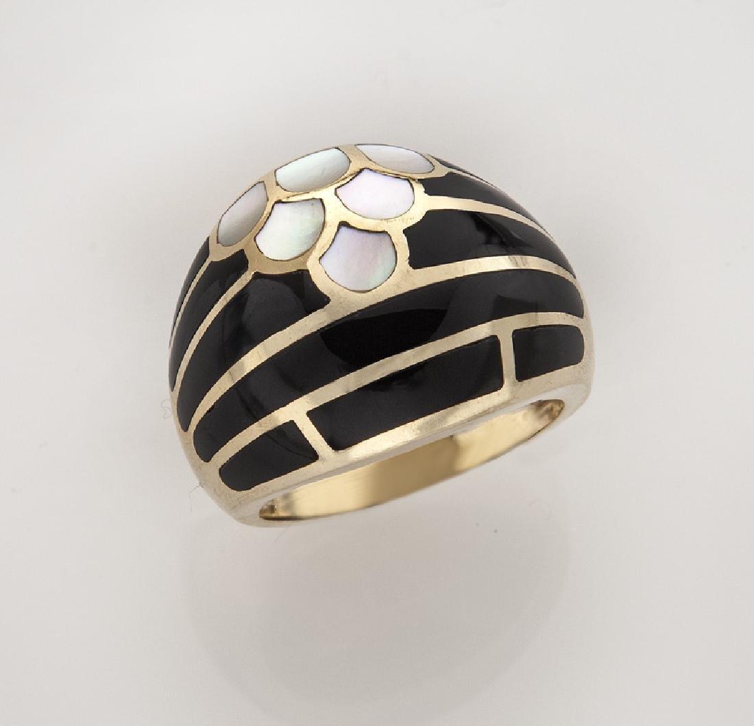 Kurt Wayne 14K gold and enamel ring.