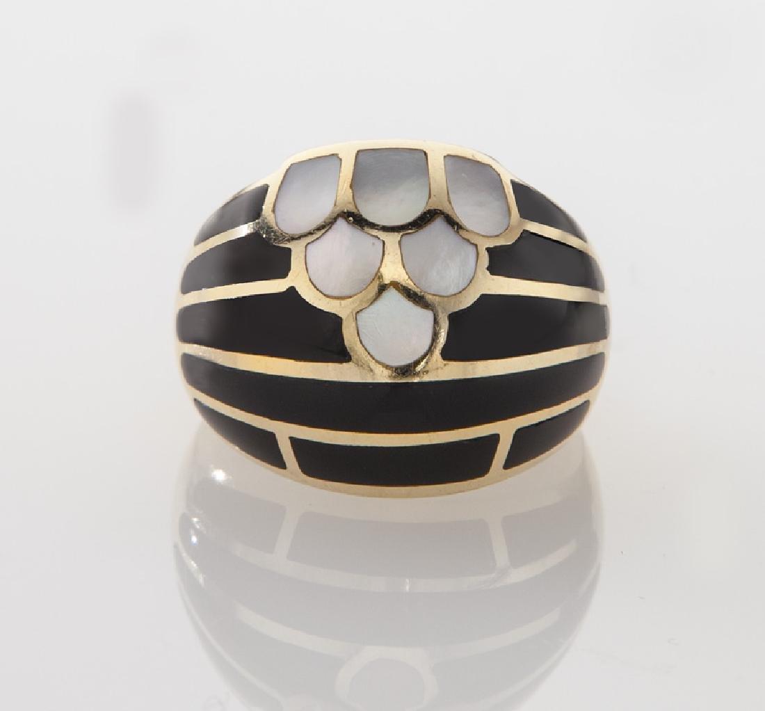 Kurt Wayne 14K gold and enamel ring. - 2