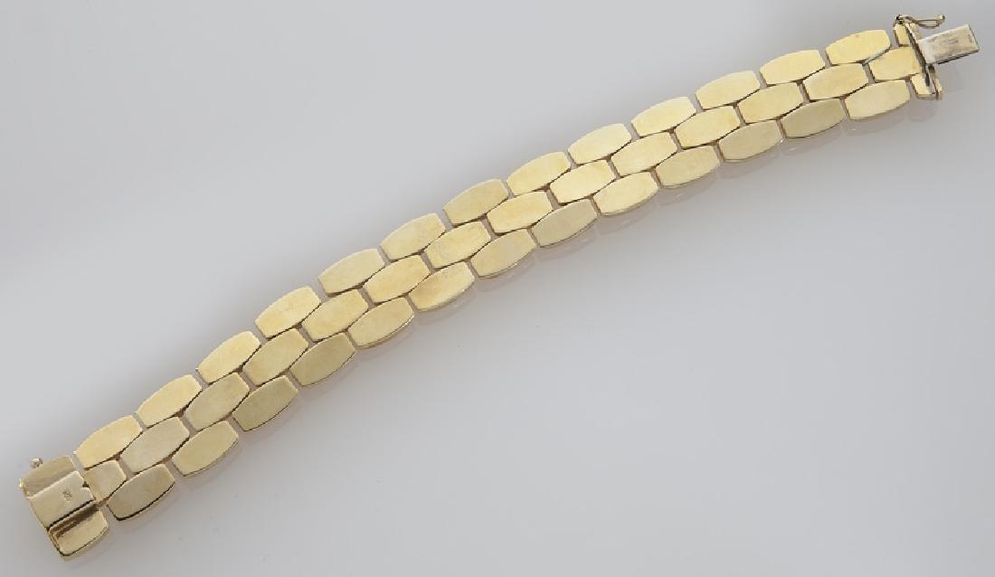 14K gold three-section line bracelet. - 3
