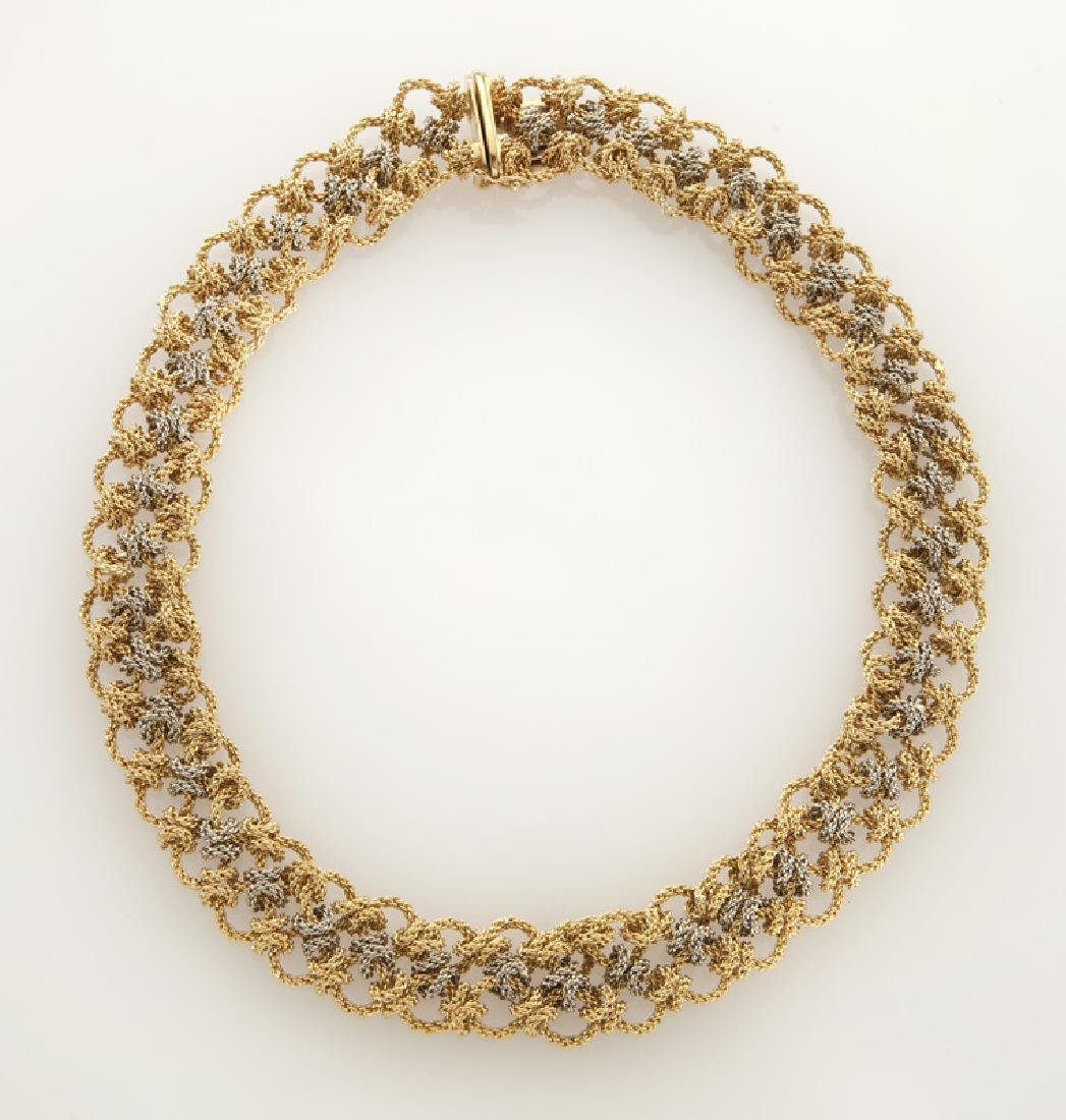 18K white and yellow gold woven chain necklace.
