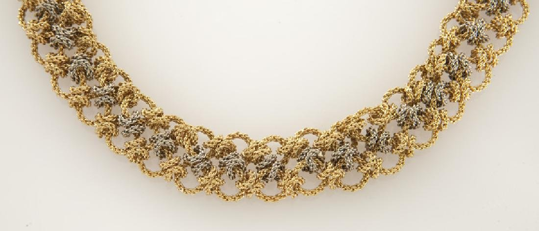 18K white and yellow gold woven chain necklace. - 2