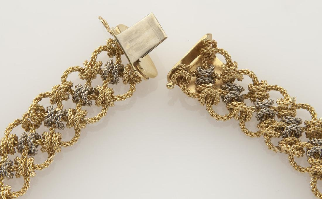 18K white and yellow gold woven chain necklace. - 3