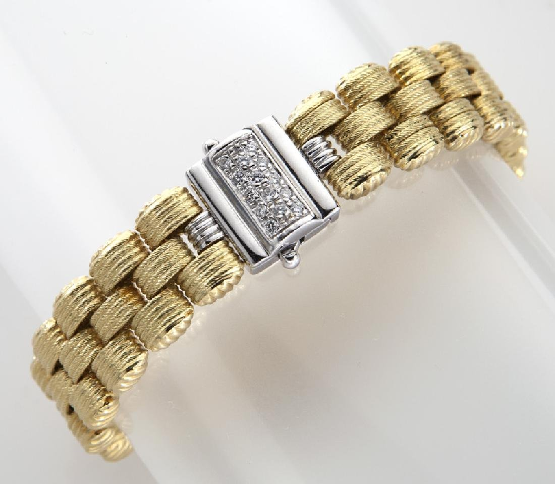 14K yellow and white gold and diamond bracelet.