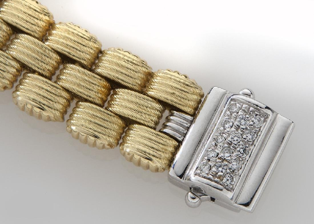 14K yellow and white gold and diamond bracelet. - 3