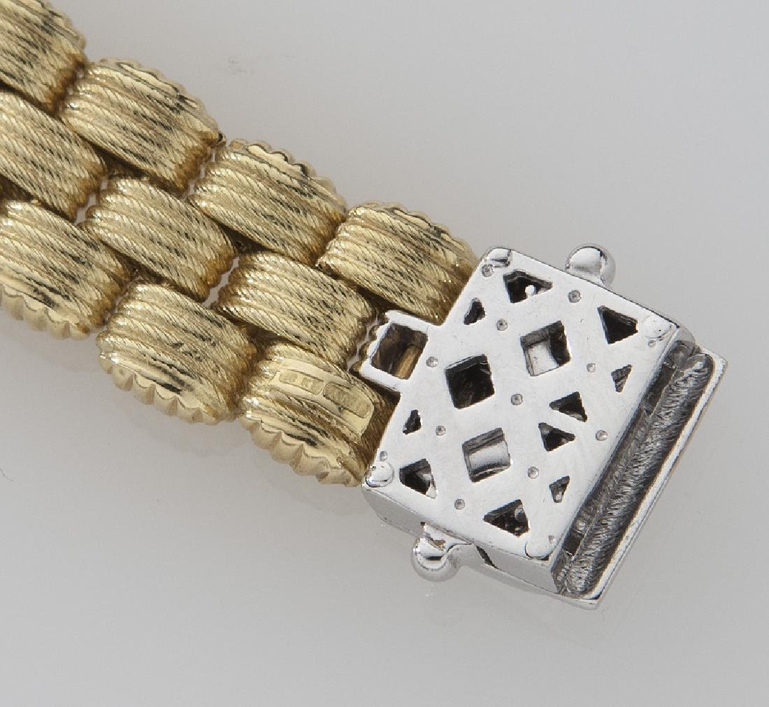 14K yellow and white gold and diamond bracelet. - 5