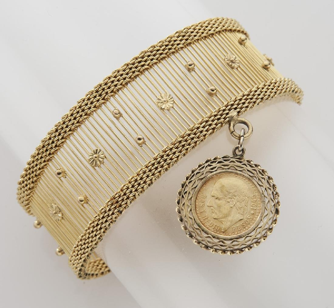 14K gold bracelet with a Mexican 2 1/2 peso charm
