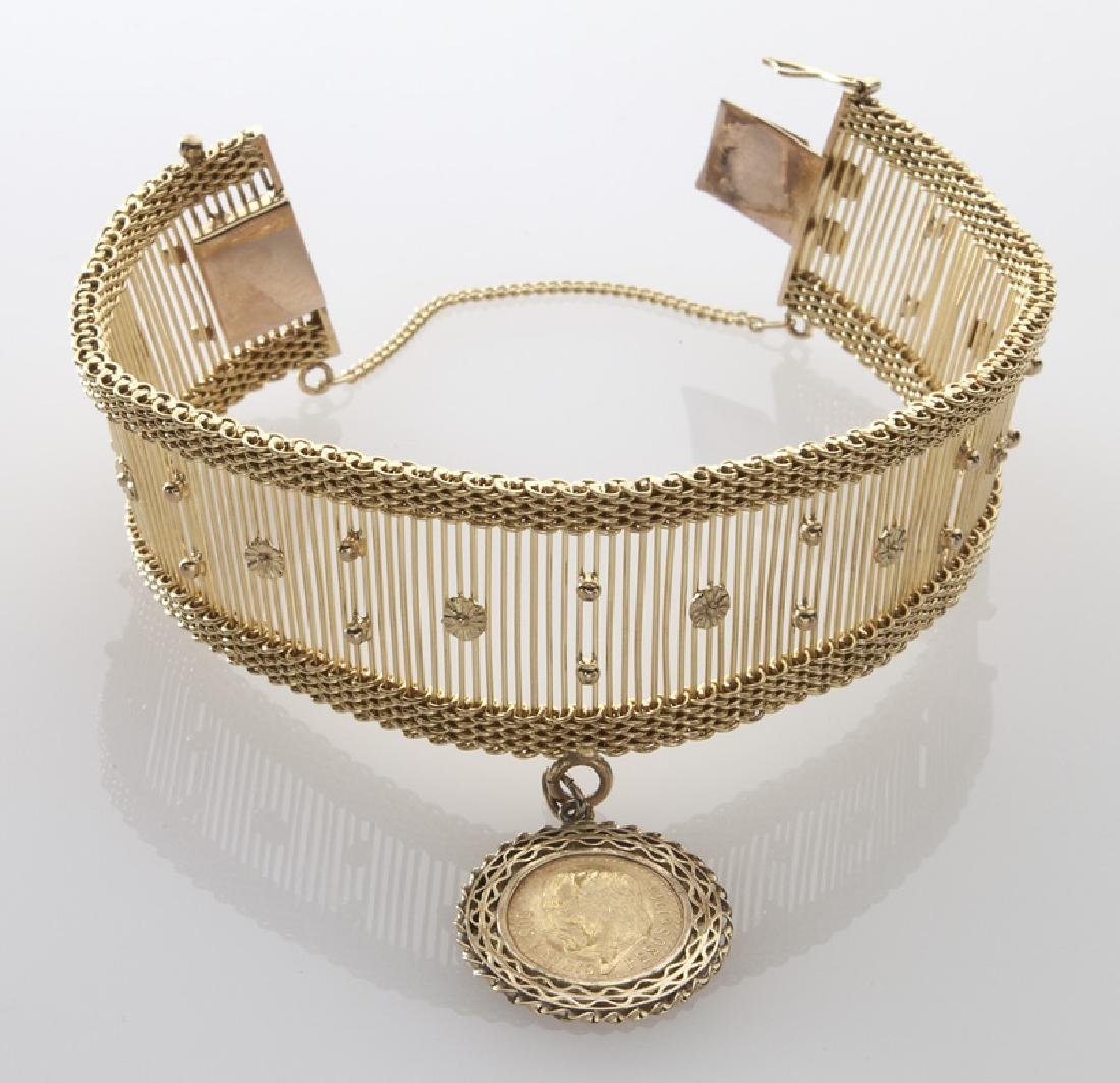 14K gold bracelet with a Mexican 2 1/2 peso charm - 2