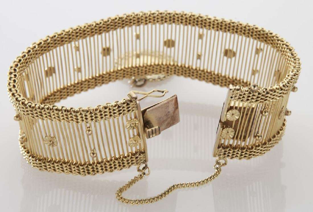 14K gold bracelet with a Mexican 2 1/2 peso charm - 3