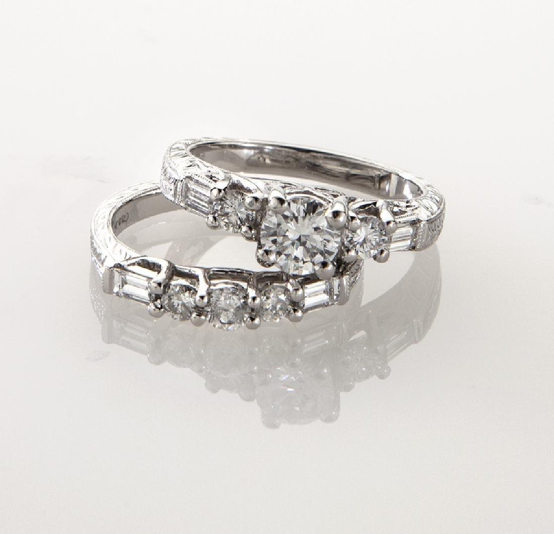 Platinum and diamond (EGL) engagement ring - 2