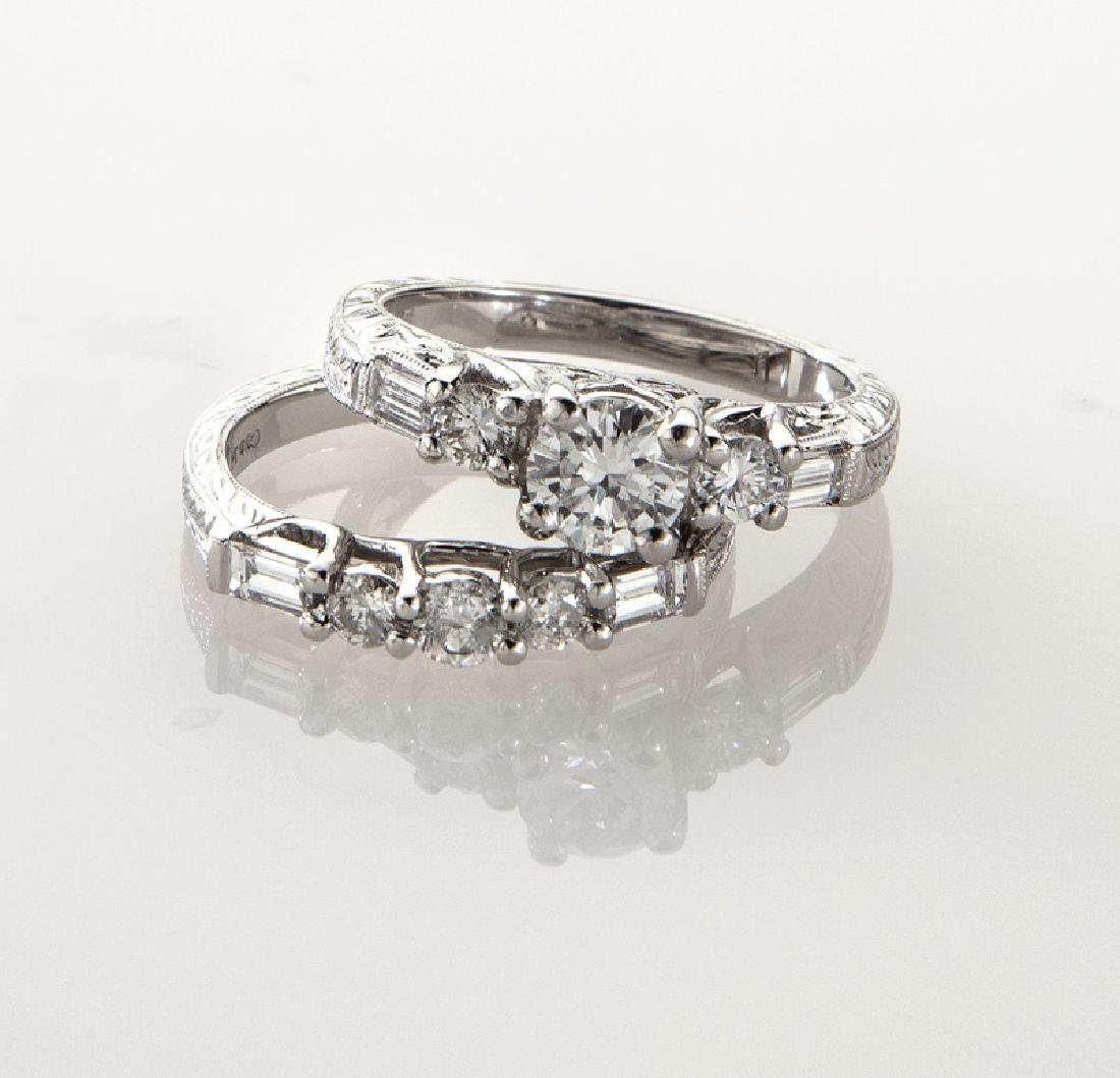 Platinum and diamond (EGL) engagement ring - 2