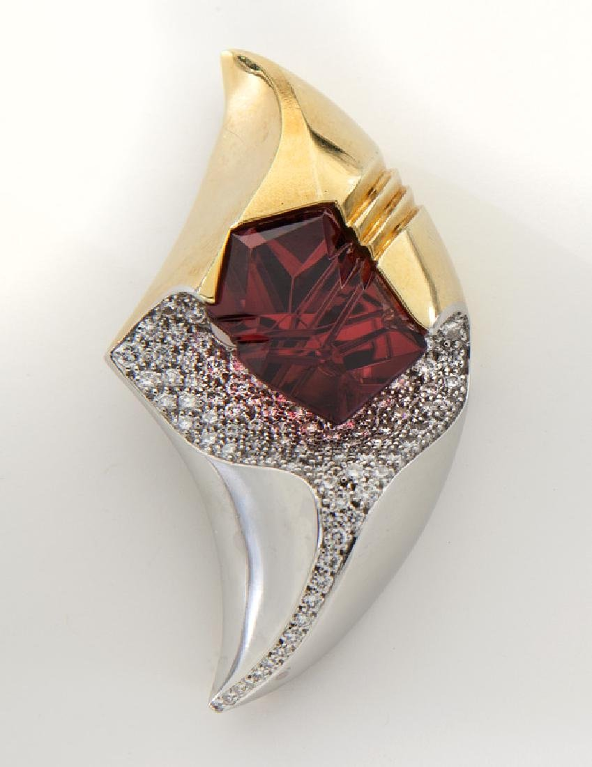Henry Dunay 18K, platinum, diamond and rhodolite