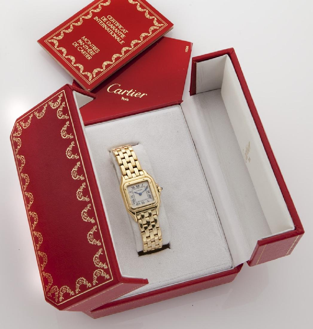 Cartier 18K gold Panthere bracelet wristwatch, - 6