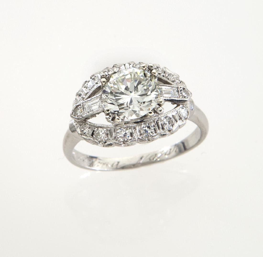 Platinum and 1.82 ct. (GIA) diamond ring,
