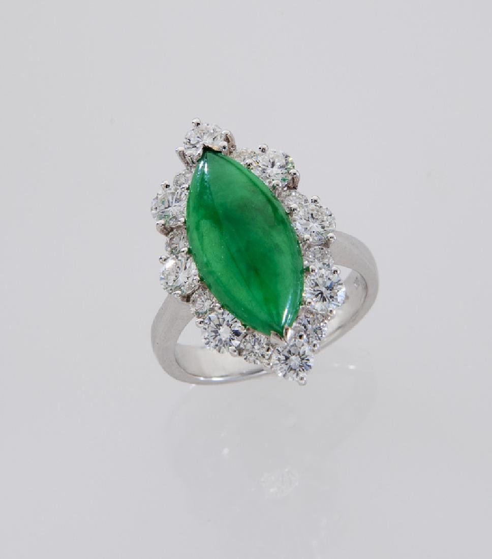 18K gold, jadeite and diamond ring