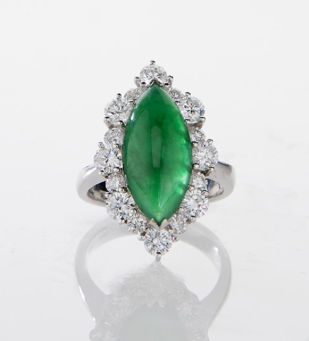 18K gold, jadeite and diamond ring - 2