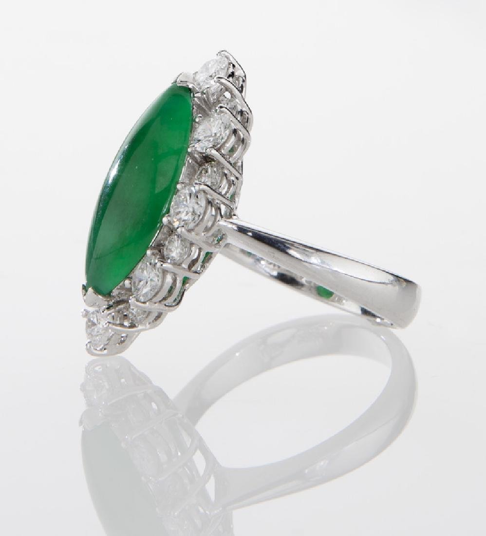 18K gold, jadeite and diamond ring - 3