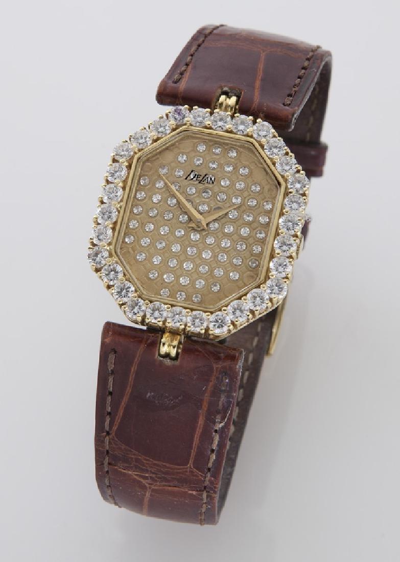 DeLaneau 18K gold and diamond wristwatch,