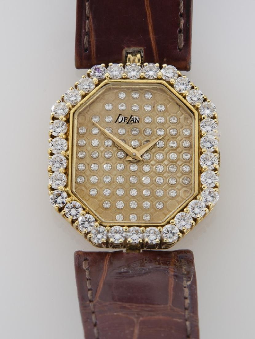 DeLaneau 18K gold and diamond wristwatch, - 2