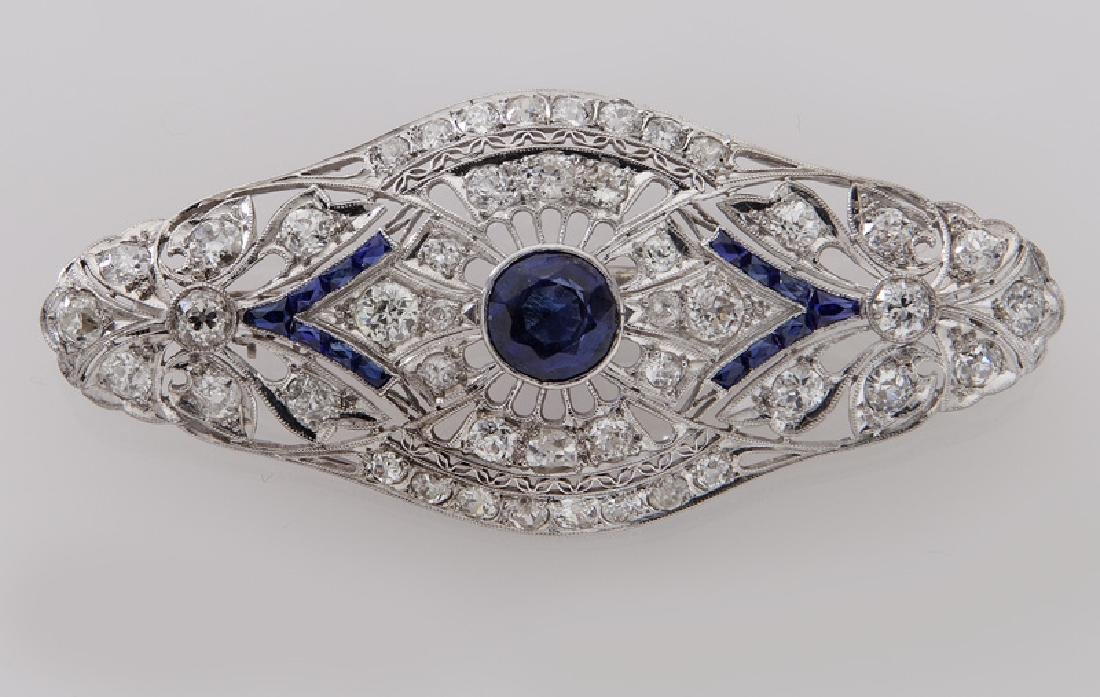 Deco platinum, synthetic blue sapphire and diamond