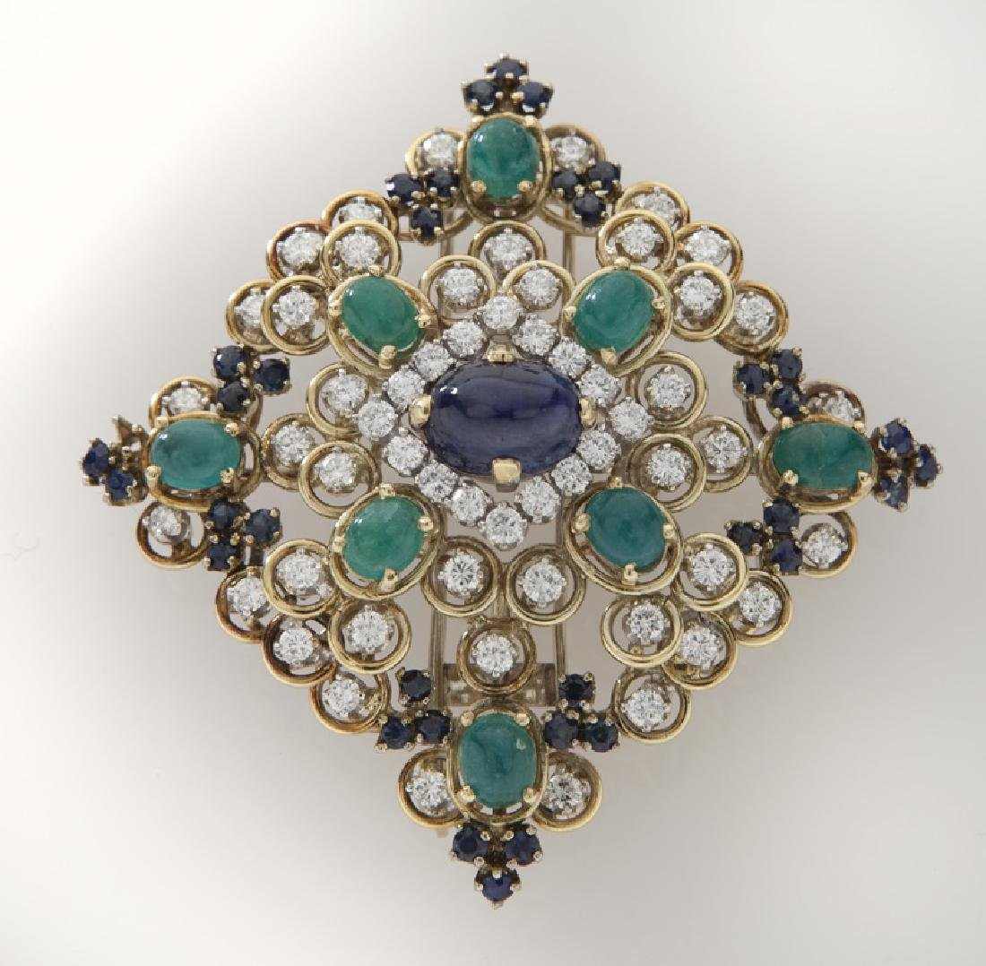 Retro 18K gold, diamond, emerald & sapphire brooch