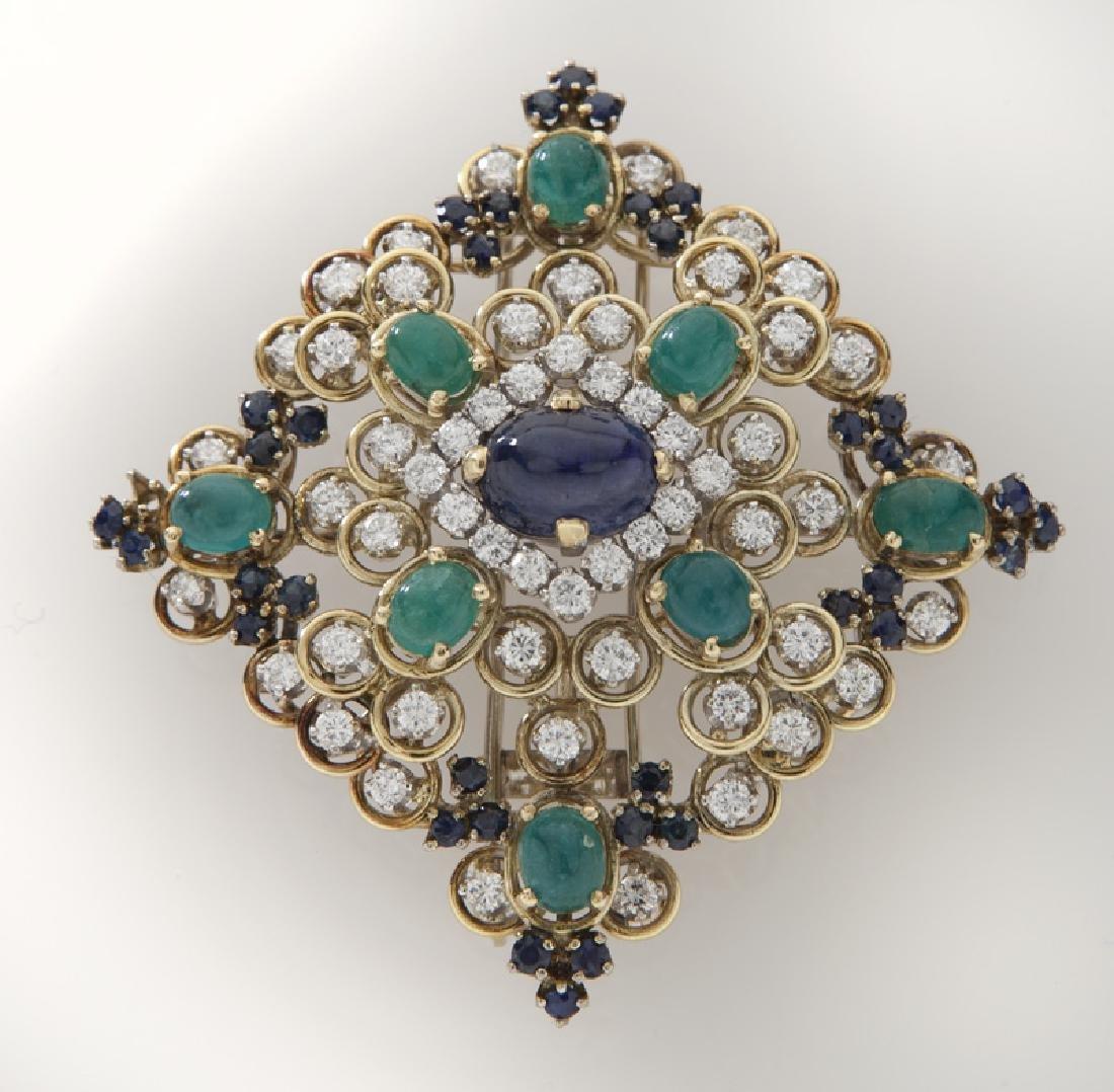 Retro 18K gold, diamond, emerald & sapphire brooch