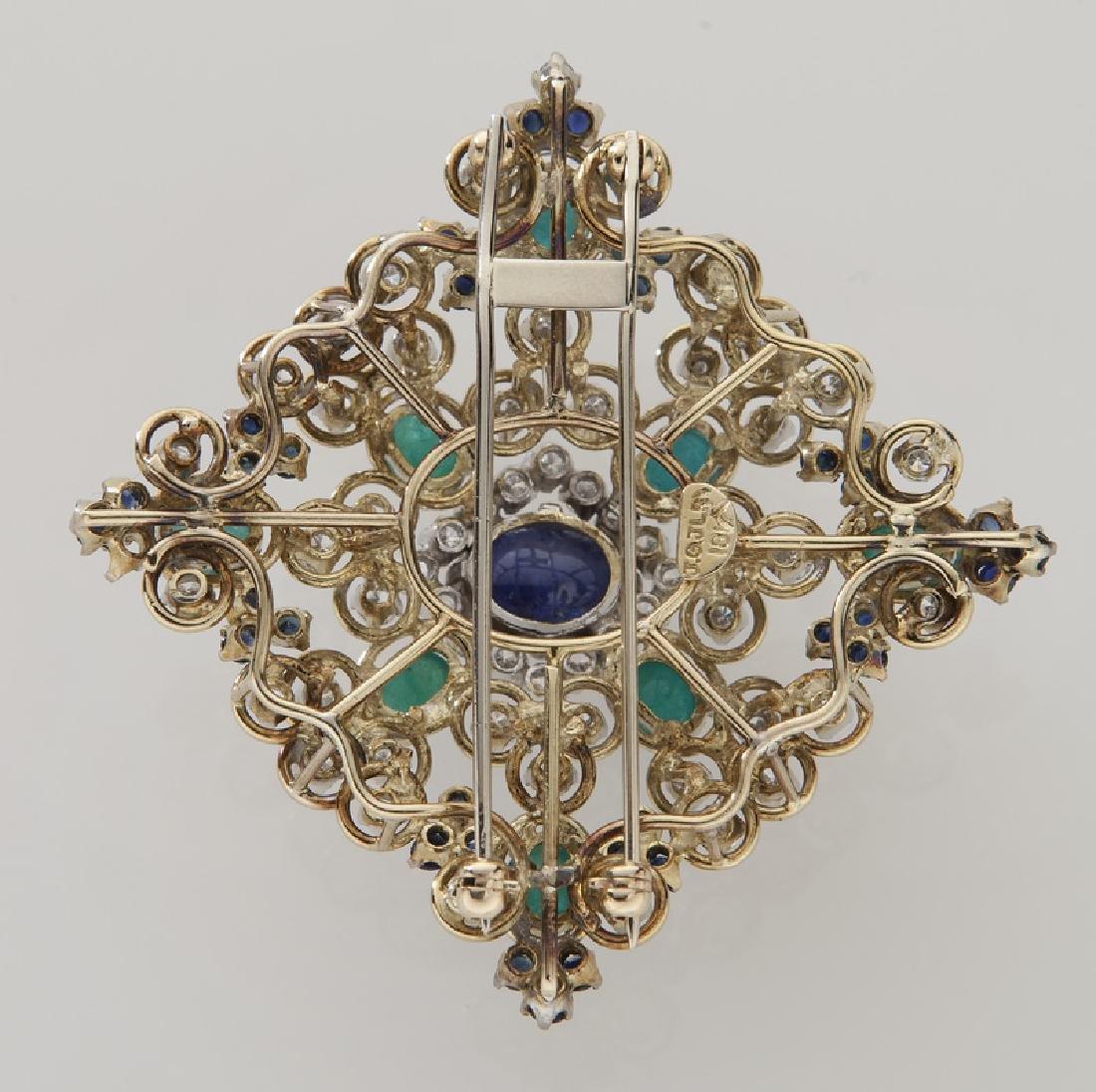Retro 18K gold, diamond, emerald & sapphire brooch - 2