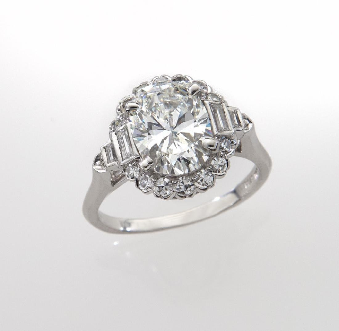 Platinum and 2.31 ct. (GIA) diamond ring