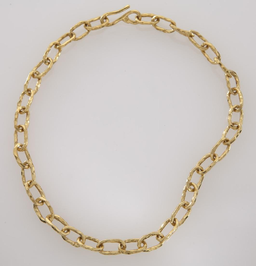 Jean Mahie 22K faceted gold link necklace.