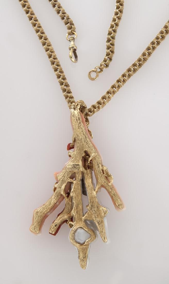 Gilbert Albert 18K gold, coral, keshi pearl, - 2