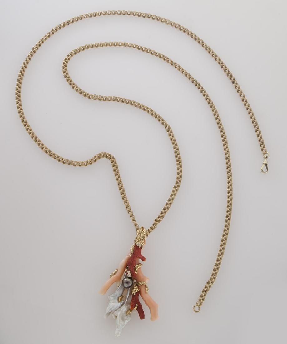 Gilbert Albert 18K gold, coral, keshi pearl, - 3