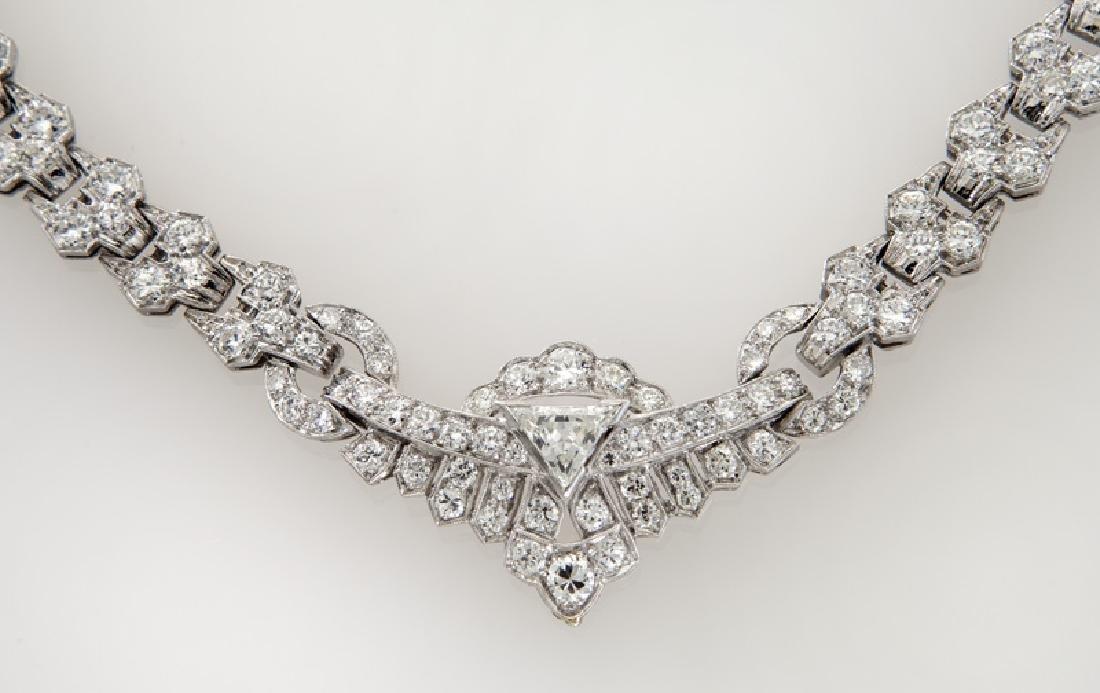 Art Deco platinum and diamond necklace - 2