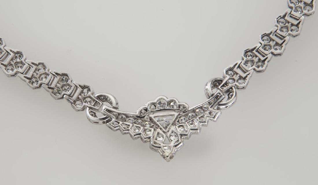 Art Deco platinum and diamond necklace - 4