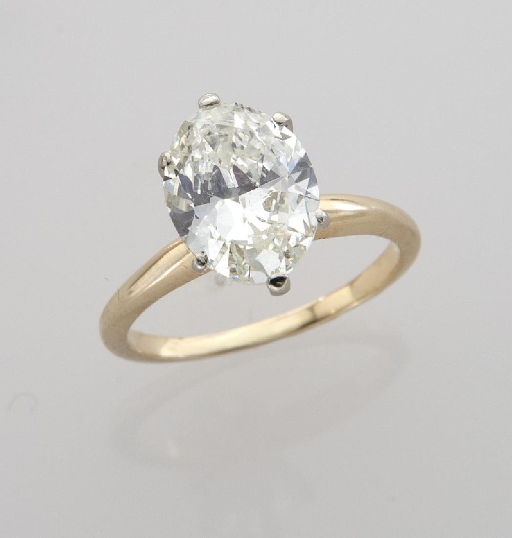 14K gold and 2.35 ct. (GIA) diamond ring,