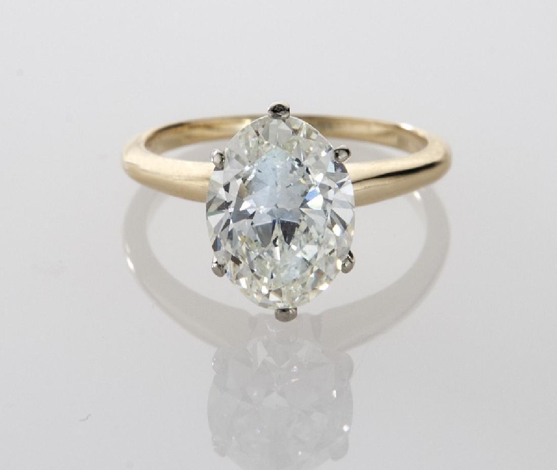 14K gold and 2.35 ct. (GIA) diamond ring, - 2