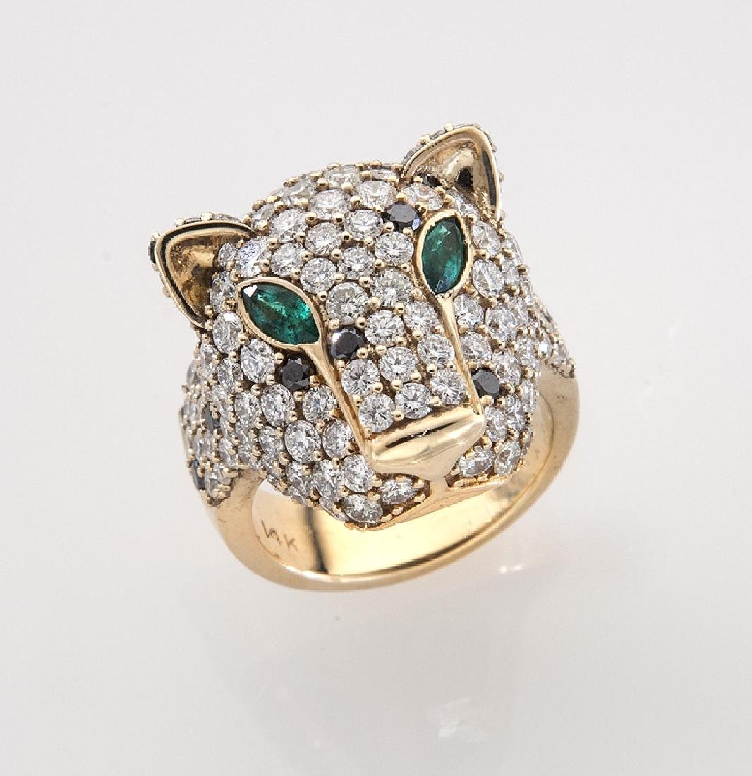 14K gold, diamond and emerald leopard's head ring