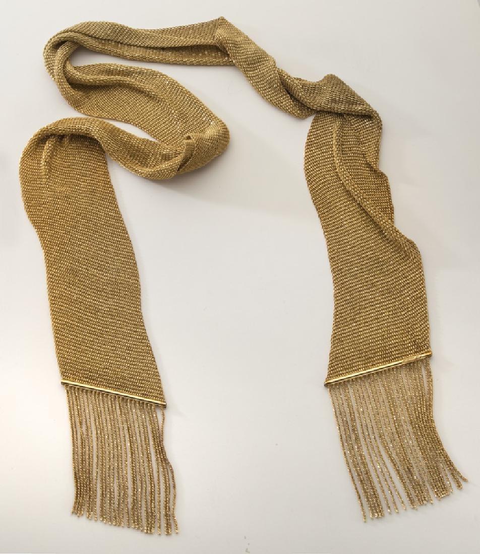 Yuri Ichihashi 18K gold mesh necklace.