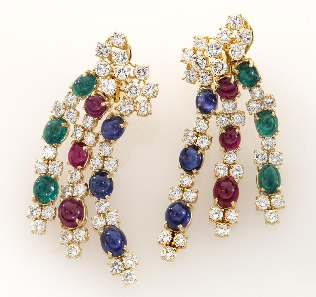 Pair of 18K, diamond, ruby, emerald and sapphire