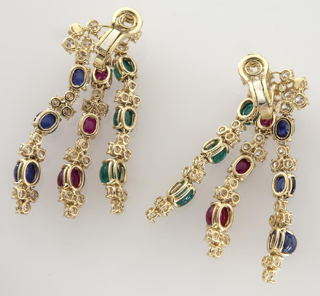 Pair of 18K, diamond, ruby, emerald and sapphire - 2