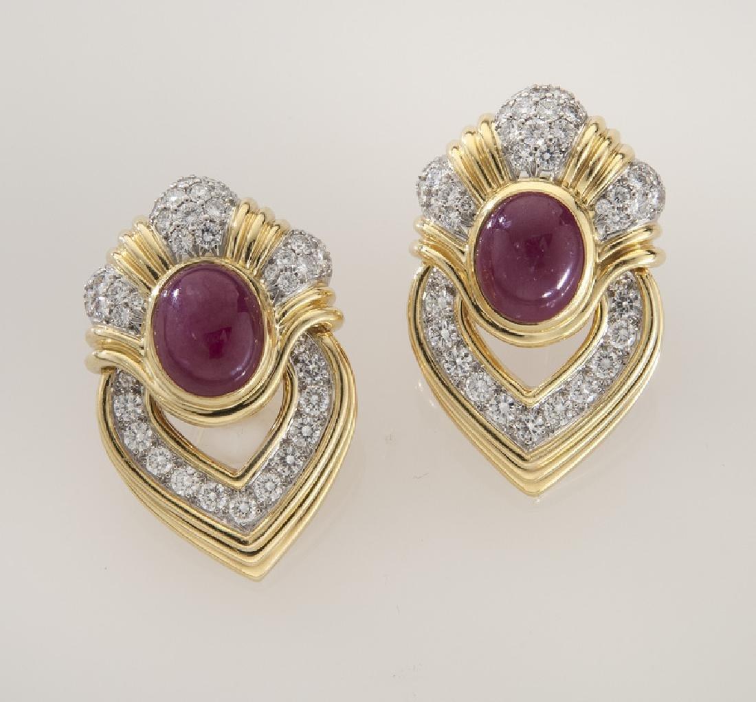 Pair of platinum, 18K, diamond and ruby earrings,