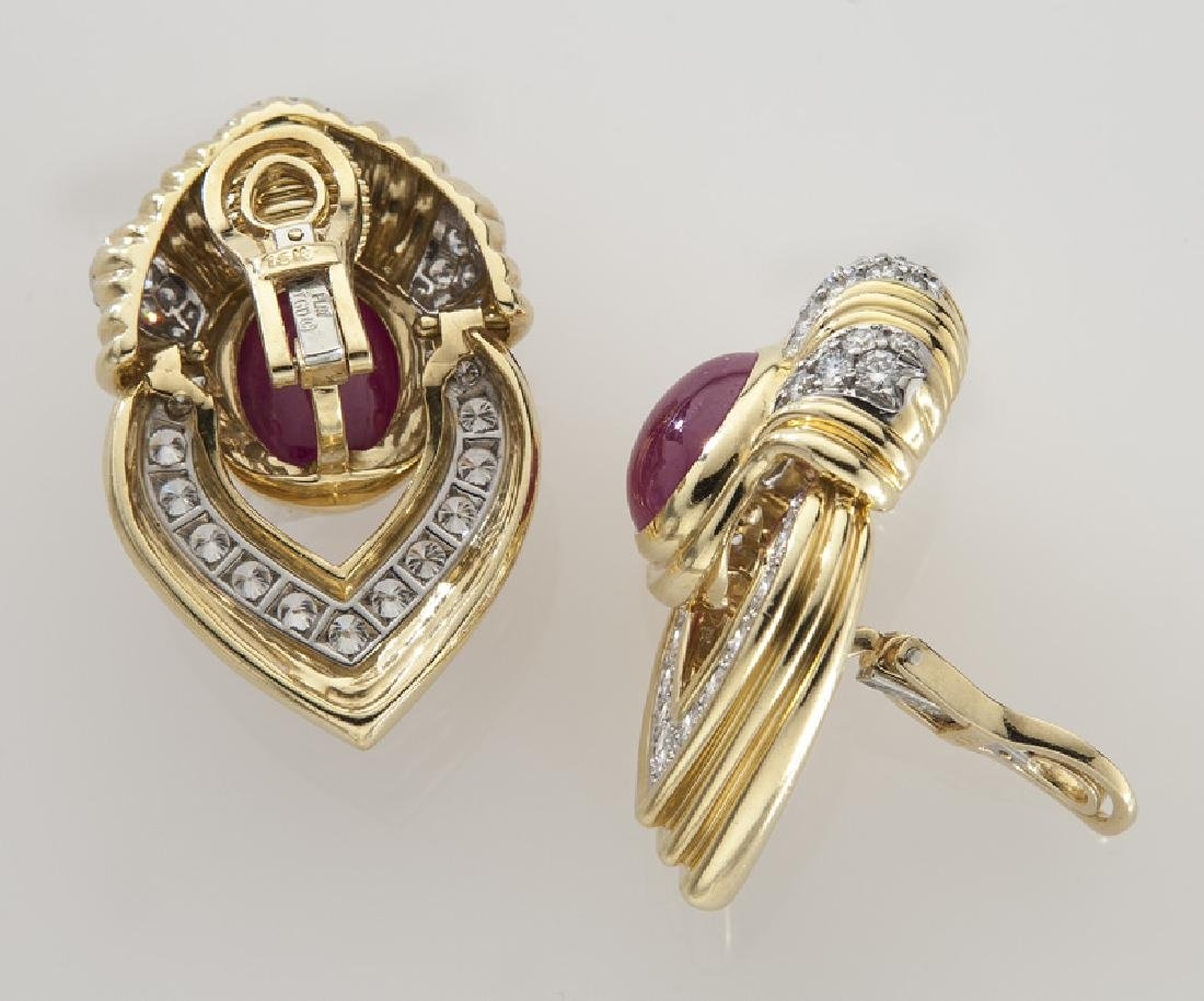 Pair of platinum, 18K, diamond and ruby earrings, - 2