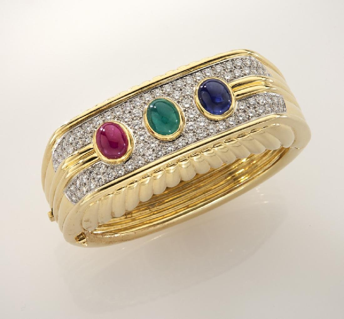 Platinum, 18K, diamond, emerald, ruby & sapphire