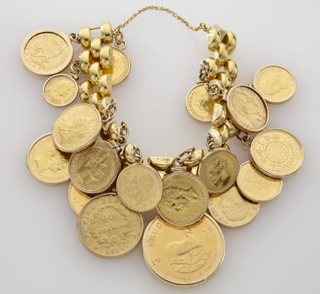 18K gold coin charm bracelet featuring 18 coins - 2