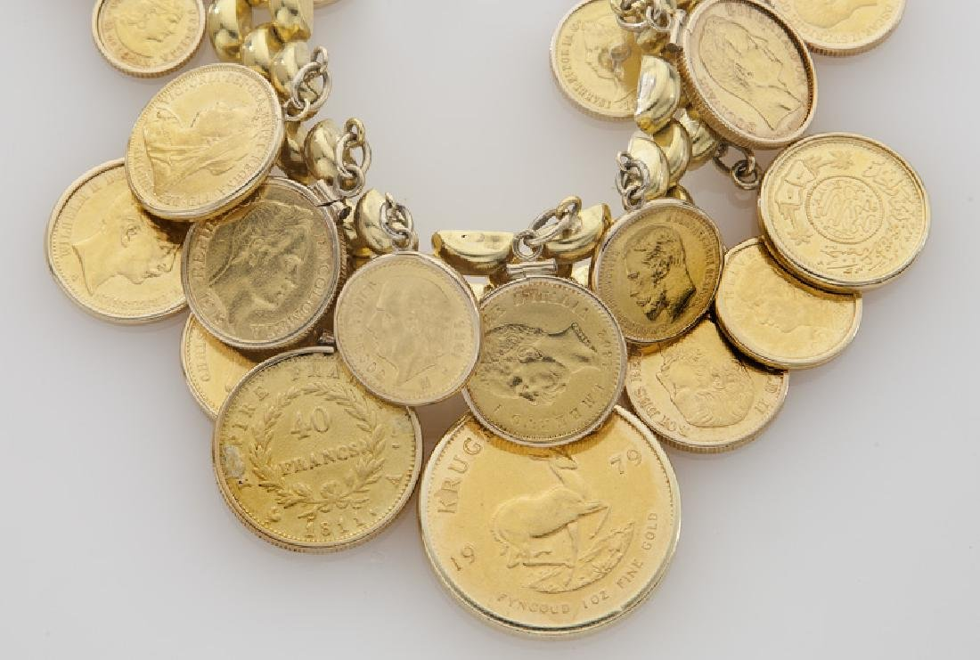 18K gold coin charm bracelet featuring 18 coins - 3