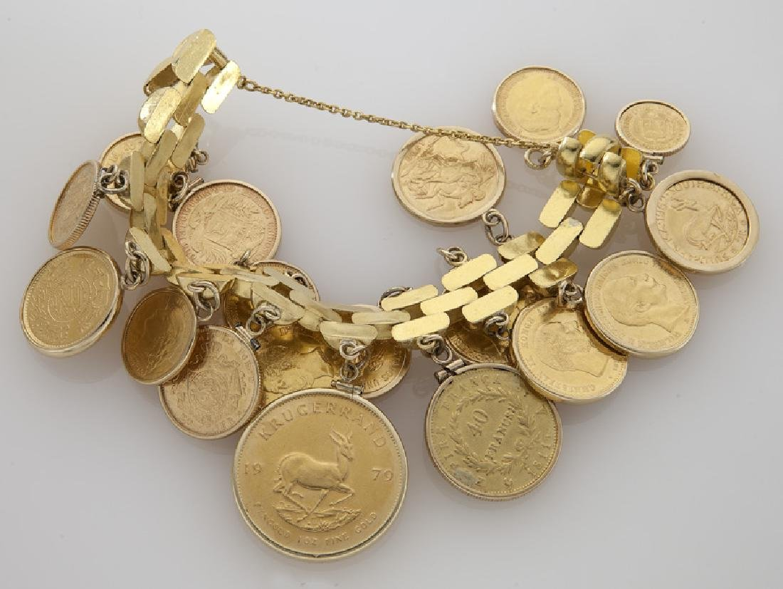 18K gold coin charm bracelet featuring 18 coins - 4