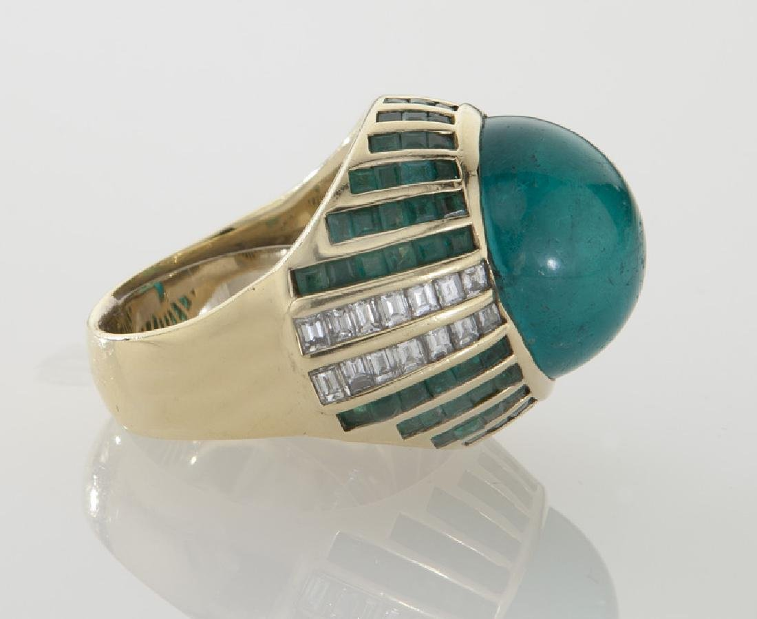 18K gold, diamond and emerald ring - 3